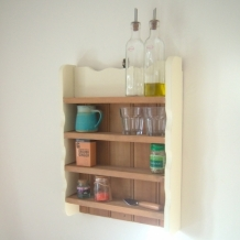 SOLID PINE AND CREAM SHELVES
