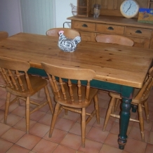 LARGE FARMHOUSE PINE TABLE AND CHAIRS