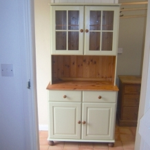 GLASS FRONTED PINE KITCHEN DRESSER