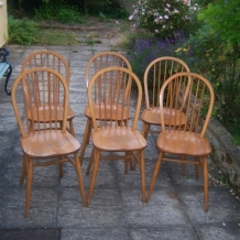 SET OF SIX, HOOP BACK, LIGHT ELM CHAIRS