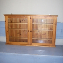 GLASS FRONTED PINE CUPBOARD / SHELVES