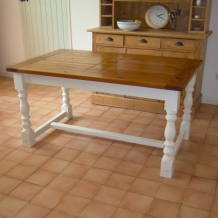 PINE AND WHITE REFECTORY STYLE TABLE