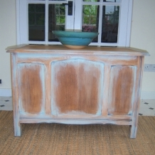 VINTAGE PAINTED PALE OAK CHEST