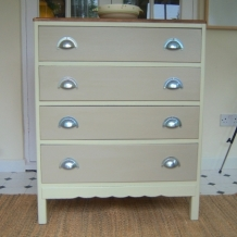 RETRO PAINTED OAK AND PINE DRAWERS