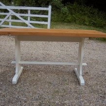 PINE AND CREAM PAINTED DINING TABLE