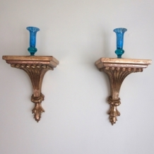PAIR OF ANTIQUE STYLE GILT WALL BRACKETS