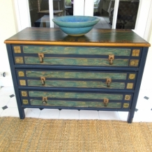 VINTAGE DECOUPAGE OAK DRAWERS