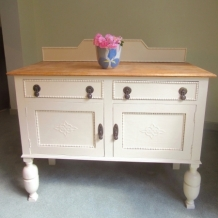 VINTAGE OAK AND CREAM SIDEBOARD
