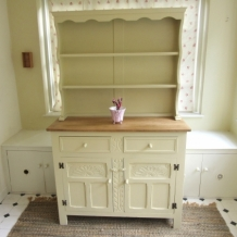 PAINTED DECORATIVE SOLID OAK DRESSER